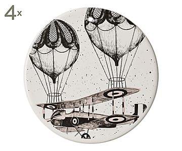 Set di 4 piatti decorativi da parete in ceramica, D 14