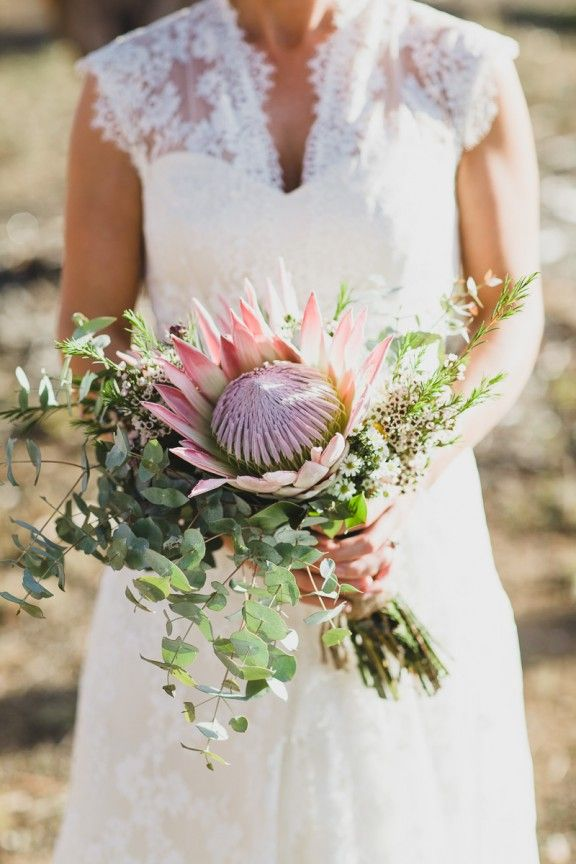 King protea bouquet, Australian rustic farm wedding | Photography by Jason Vandermeer