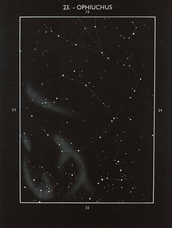 Star Map  Astronomy Vintage Print Ophiuchus Constellation Celestial Equator, Science Gift, Retro Office Decor