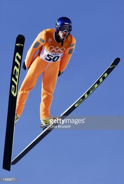 Adam Malysz of Poland competes in the trial for competition in the K120 ski jumping event during the Salt Lake City Winter Olympic Games at the Utah...