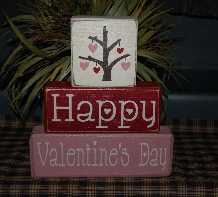 happy valentines day heart love tree wood sign blocks holiday seasonal primitive country rustic home decor - Primitive Valentine Decor