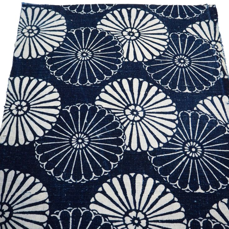 Antique Japanese Katazome Cotton Textile Square, Unique Chrysanthemum Design, From Old Futon Cover,