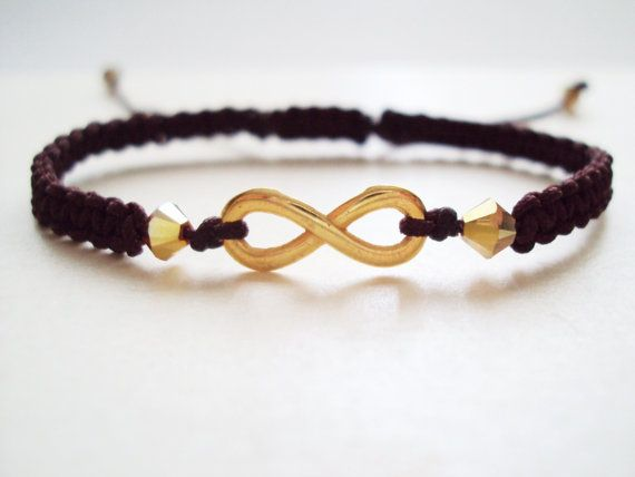 Golden eternity symbol macramé bracelet in dark brown with Swarovski crystals
