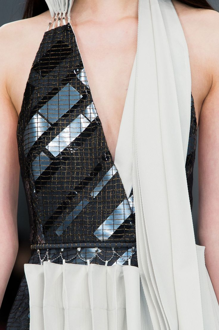 Embellished dress with asymmetric pleats; fashion details // Hussein Chalayan Fall 2015