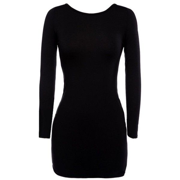 FINEJO New Women Long Sleeve Backless Cocktail Party Bandage Mini... ❤ liked on Polyvore