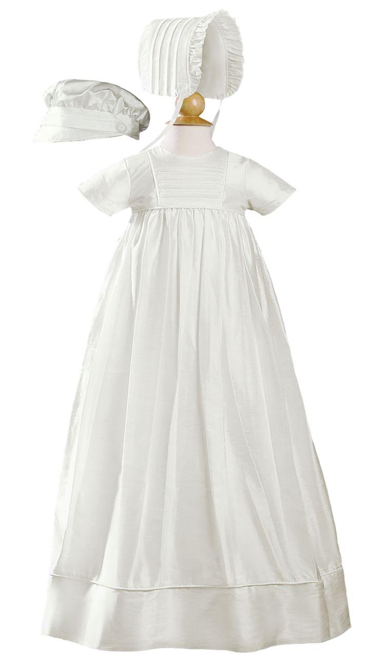Silk Handmade Heirloom Christening Gown with Hat & Bonnet (Baby Girls or Boys Newborn - 12 months)