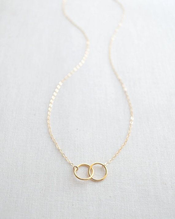 SALE - Double Trouble Necklace - gold connected circles necklace - gold two circle necklace -1233