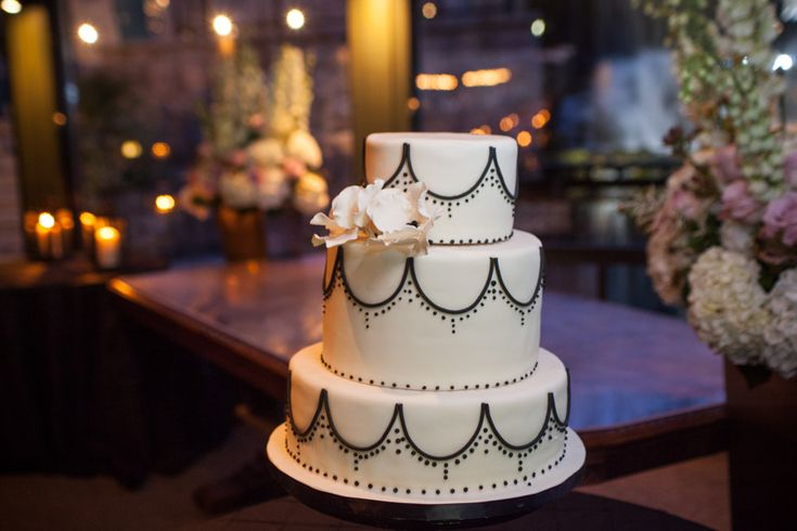 Ancaster Mill wedding reception black and white cake