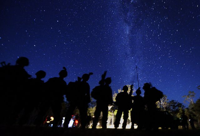 While you were sleeping ... Marines head out for some training in Australia.  (U.S. Air Force photo by Staff Sgt. Sheila deVera/Released)