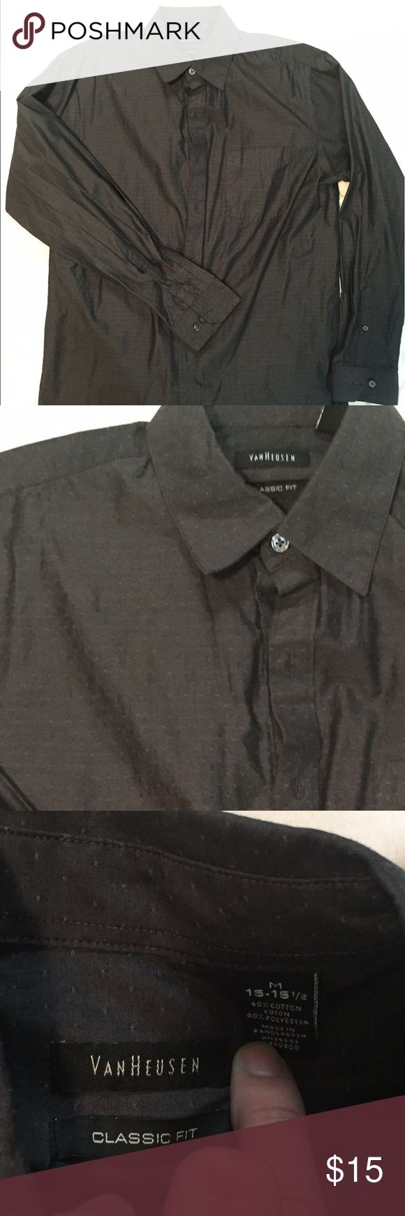 Button down shirt Charcoal gray button down polka dot shirt Van Heusen Shirts Casual Button Down Shirts