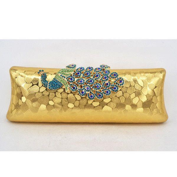 Woman Evening Bag / Clutch Handbag Embossed Diamond Crystal Peacock Purse