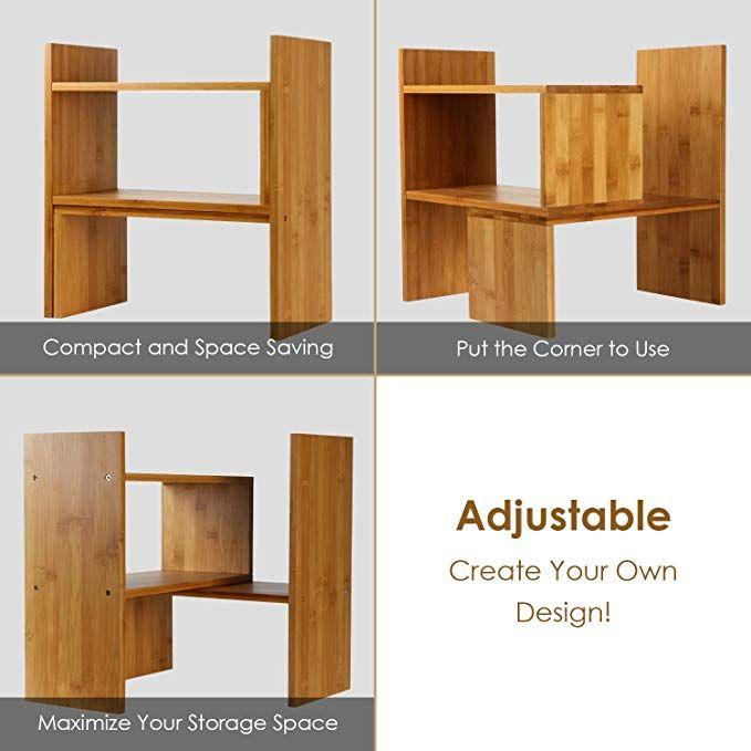 Amazon Com Niubee Adjustable Natural Bamboo Desktop Bookshelf Countertop Bookcase Desk Book Storage Organizer Di Desktop Bookshelf Display Shelves Countertops