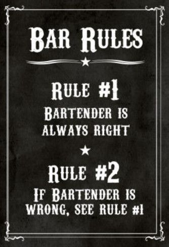 Bar Rules The Bartender is Always Right Sign Art Print Poster Masterprint at AllPosters.com