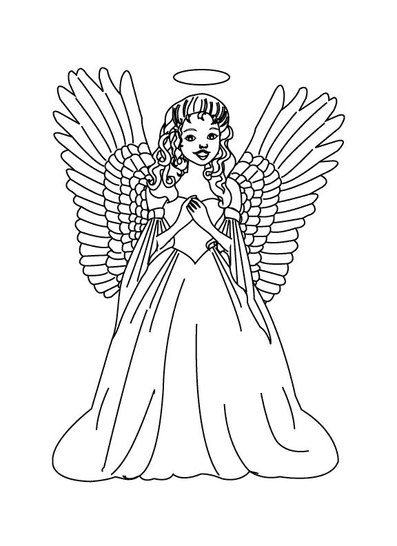 Detailed Christmas Coloring Pages Bing Images Angel