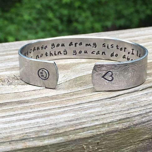 Sister Gifts | Sister Gift | Sister Present | Sisters Jewelry | I Smile Because You Are My Sister... Bracelet with Lace Finish Hand Stamped