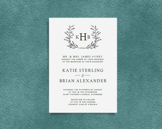 Monogram Wedding Invitation Template | Digital Download for Word | Floral Wreath Invitation | Fully Customizable | Free RSVP Template
