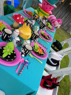 alice in wonderland party | Frosted Events Birthday Party Themes, Baby Shower Themes, Bridal Shower Themes www.tableskirtsandmore.com