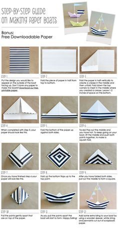 How To Make A Paper Boat & Anchor Nautical Party Ideas // Free Printable Nautical Paper // BigDotOfHappiness.com #paperboats #nauticalparty #anchors