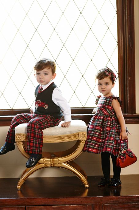 Elegant and traditional in tartan plaid…brother and sister looks for holiday portraits.