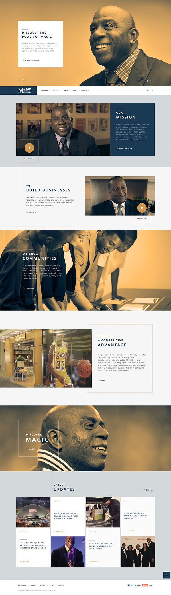Clean / Photo Integration / Corporate / Color /// MagicJohnson.com on Web Design Served