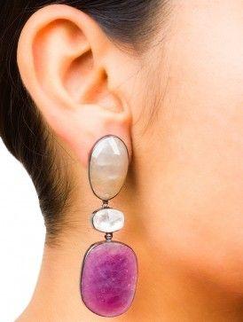 Sapphire Drop Silver Earrings