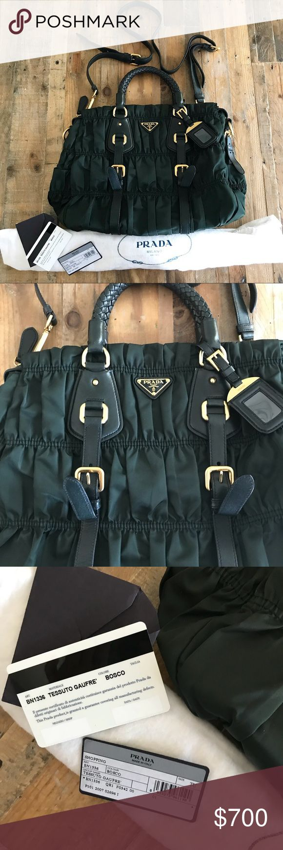 Prada Tessuto Gaufre Olive Hi  Selling my prada tessuto gaufre In excellent condition  Almost New Complete  Goregeous and Rare Olive Green Smoke and pet free Home  Thanks for looking Prada Bags Crossbody Bags