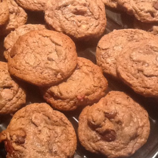 Insomnia=chocolate, peanut butter, chocolate chip, and peanut butter cup cookies! Added this and that and some pecans. Was going to make brownies, wanted peanut butter cookies, so I mixed the 2 recipes and made one! YumMe