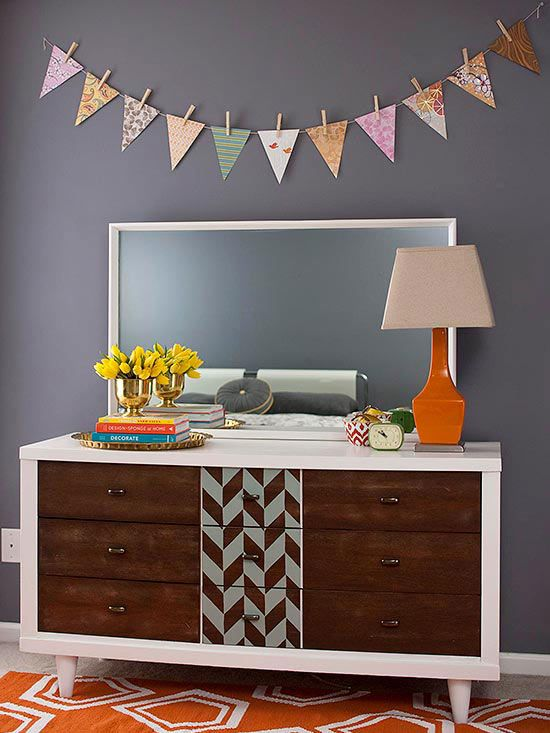 Revamp a dresser with fresh paint and a fun pattern. More furniture makeovers: http://www.bhg.com/decorating/makeovers/furniture/furniture-projects/?socsrc=bhgpin010214patterndresser&page=3