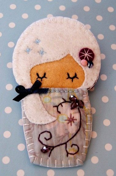 Felt Doll Brooch Ilda by Rosengava on Etsy, €9.50