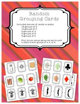 Random Grouping Cards - make groups of 2, 3, 4, 5, or 6!