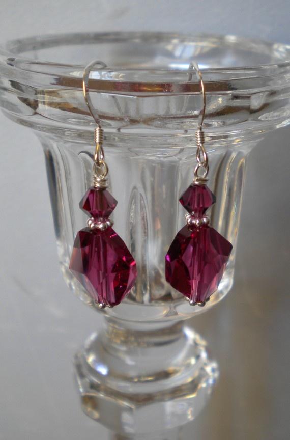 Fushia Crystal Dangle Earrings