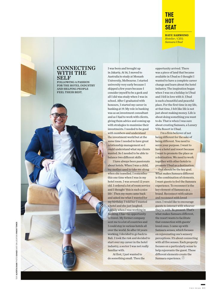 If you always wandering why Samsara Ubud is one of a kind gem in the Island of Gods, have a look on our latest coverage on The Hot Seat of The Peak Indonesia featuring Samsara Ubud's CEO Mr. Bayu Sarwono who are delighted to share you the original story of our resort.  http://www.samsaraubud.com/  #samsaraubud #samsarasenses #areyoureadytowander #love #bali #ubud #travel #paradise