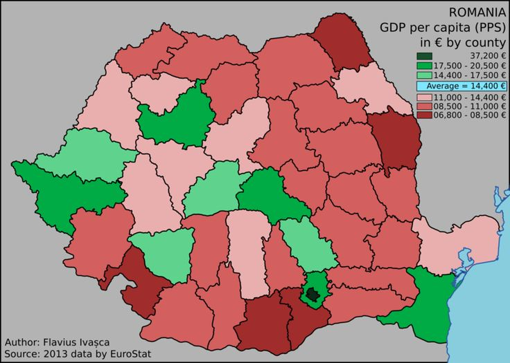Romania's GDP per capita per county in 2013.