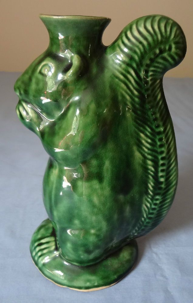Green Squirrel Candle Holder Rowe Pottery Bob Timberlake