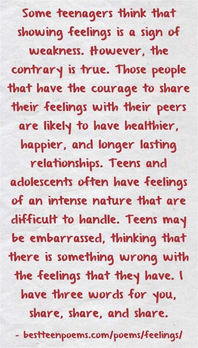 Read Feeling Poems by Teens: http://www.bestteenpoems.com/poems ...