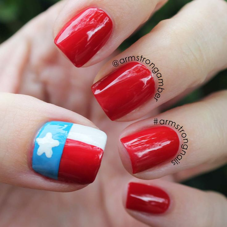 Texas pride nail art - by Amber Armstrong -- Instagram@armstrongnails