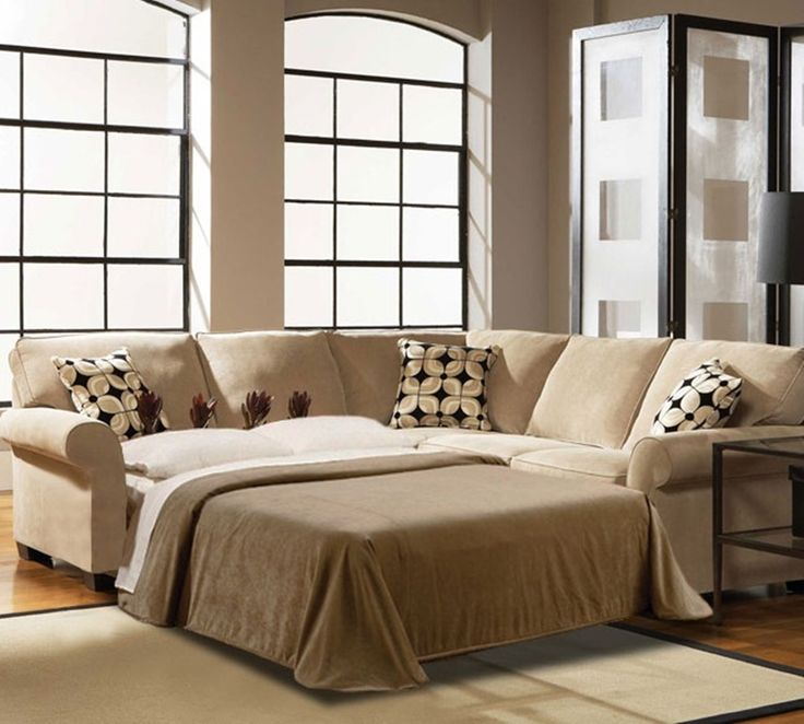 Accessories. 20+ Remarkable Images Small Sectional Sleeper Sofa: Luxurious Light Soft Brown Small Sectional Sleeper Sofa Basic White Floral Combine Square Beveled Motive Cushions White Main Pillows Soft Brown Bed Covers Cream Soft Rug Fur Carpet Cilinder Armrest Sides ~ Furniture & Accessories