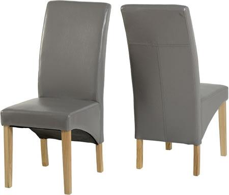 salivan grey padded oak dining chair