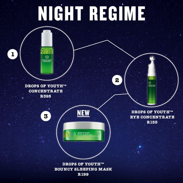 The Ideal Night Time Regime: after clearing your makeup and cleansing you skin, gently massage two to three drops of Drops of Youth Concentrate into skin, allowing it to sink in.  For the Drops of Youth Eye Concentrate, gently press the pump once and massage roll-on in circular motions around the eyes. Pat with your fingers for complete absorption.   Lastly, apply our Drops of Youth Bouncy Sleeping Face Mask using Dr Terry's specially designed massage technique.