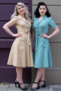 40s style dresses - Not only are the dresses great, but the girls wearing them went all out with vintage hair and makeup!