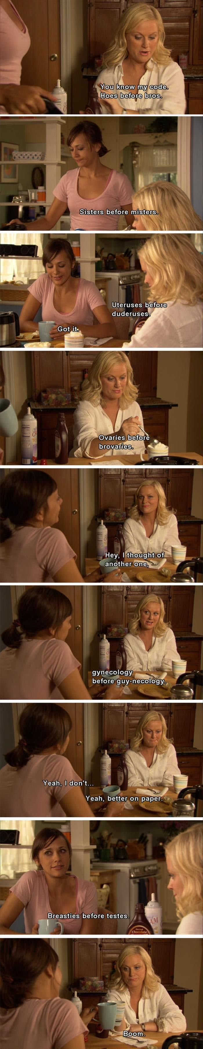 You know my code. | Leslie and Ann, Parks and Rec