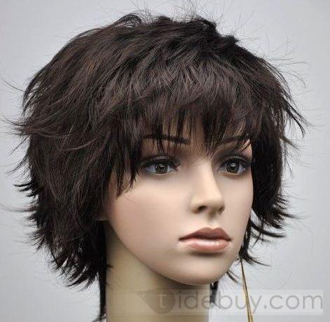 Perruque Cheveux Synthétiques Court Bouclés Naturelle Noir 10