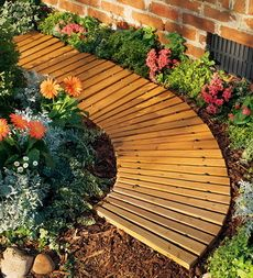 Portable Roll-Out Wooden Curved Pathway from @Plow & Hearth - $39.95