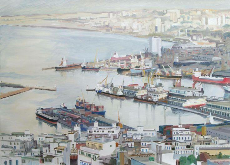 Peinture Algérie - Le port d'alger, Gilles Chambon