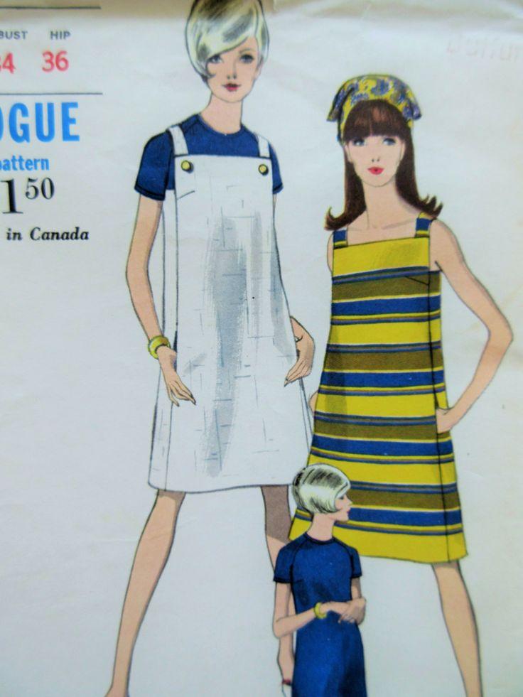 Vintage Vogue 7029 Sewing Pattern, 1960s Dress Pattern, Jumper Pattern, A-Line…