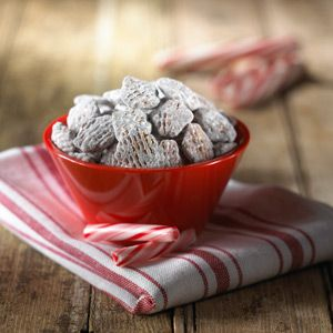 Chocolate and mint coated cereal is an sure-fire hit for holiday parties, but, if you want something different, try substituting 1/2 teaspoon raspberry extract for the mint extract.