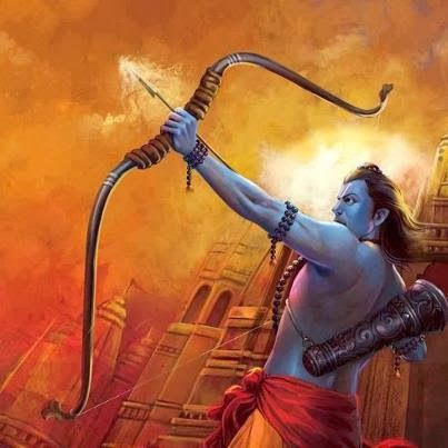 Rama- Hindu myth: an avatar of Vishnu. he is portrayed as a perfect human. after his wife, Sita, is kidnapped by Ravana, they ensue in a huge war that ends with Rama killing Ravana. he the returns to Ayodhya to be crowned king in and eventually become an emperor that rules with happiness, peace, duty, prosperity and justice