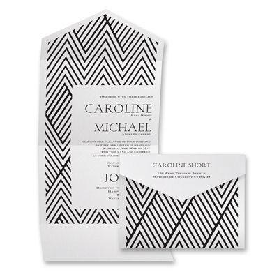Modern Statement - White Shimmer- Seal and Send Invitation