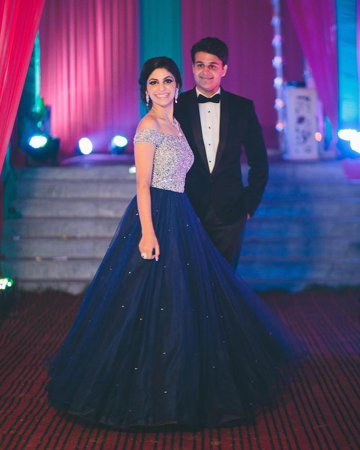 """Purbsha shares her fairytale moment with her groom Sahil Dasawar in a dreamy off-shoulder silver and indigo gown. Share your Cinderella moment with us …"""