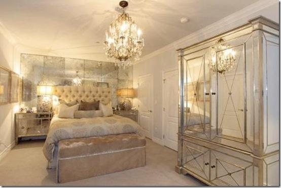 Kim Kardashian's elegant bedroom in her former condo.